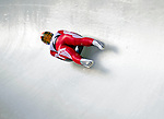 6 February 2009: Maija Tiruma from Latvia slides through a curve in the Women's Competition finishing in eighth place for the event with a combined time of 1:28.917 at the 41st FIL Luge World Championships, in Lake Placid, New York, USA. .  .Mandatory Photo Credit: Ed Wolfstein Photo