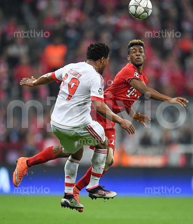 FUSSBALL CHAMPIONS LEAGUE  SAISON 2015/2016 VIERTELFINALE HINSPIEL FC Bayern Muenchen - Benfica Lissabon         05.04.2016 Eliseu (li, Benfica Lissabon) gegen Kingsley Coman (FC Bayern Muenchen)