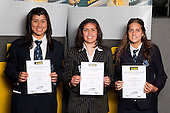 Basketball Girls finalists Ashleigh Kelman-Poto, Moengaroa Subritzsky and Morgan Roberts.  ASB College Sport Young Sportsperson of the Year Awards held at Eden Park, Auckland, on November 11th 2010.