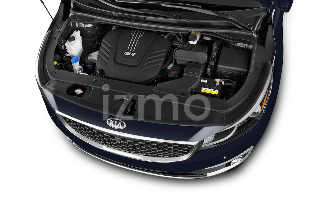 Car stock 2015 KIA Sedona LX Hybrid 5 Door Mini Van engine high angle detail view