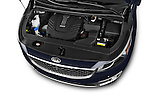 Car stock 2015 KIA Sedona LX Hybrid 5 Door Mini Van engine high angle detail view