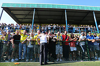Aki Achillea chairman of Haringey celebrates with  the fans during Haringey Borough vs Canvey Island, Bostik League Division 1 North Play-Off Final Football at Coles Park Stadium on 6th May 2018