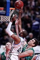 Real Madrid's Marcus Slaughter (l) and Union Olimpija Ljubljana's Aron Baynes during Euroleague 2012/2013 match.December 13,2012. (ALTERPHOTOS/Acero) /NortePhoto