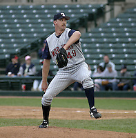 June 1, 2004:  Pitcher Jimmy Haynes of the Toledo Mudhens during a game at Frontier Field in Rochester, NY.  The Mudhens are the Triple-A International League affiliate of the Detroit Tigers.  Photo By Mike Janes/Four Seam Images