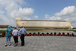 Ark Encounter is a Christian theme park that opened in Grant County, Kentucky on July 7, 2016.The centerpiece of the park is a full-scale model of Noah's Ark from the Genesis flood narrative in the Bible which is 510 feet (160 m) long, 85 feet (26 m) wide, and 81 feet (25 m) high. The park also includes a petting zoo.[2][3] Ark Encounter is operated by Answers in Genesis (AiG), the pseudoscientific Young Earth creationism group that operates the Creation Museum 45 miles (72 km) away in Petersburg, Kentucky.<br /> The ark contains 132 bays, each standing about 18 feet (5.5 m) high, arranged into three decks.[7][8] Vistors enter on the lowest deck and move between decks on ramps constructed through the center of the ark.[9] Bays on the first deck contain models of some animals that AiG believes were on the ark; there are no live animals within the ark but  Dinosaurs are among the models presented.<br />  (Photo by Jean-Marc Giboux)