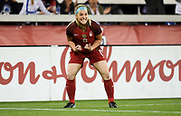 San Jose, CA - Sunday November 12, 2017: Julie Ertz scores and celebrates during an International friendly match between the Women's National teams of the United States (USA) and Canada (CAN) at Avaya Stadium.