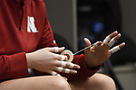 KANSAS CITY, MO - DECEMBER 16: Lauren Stivrins (26) of the University of Nebraska applies tape in the locker room prior to the Division I Women's Volleyball Championship held at Sprint Center on December 16, 2017 in Kansas City, Missouri. (Photo by Jamie Schwaberow/NCAA Photos via Getty Images)