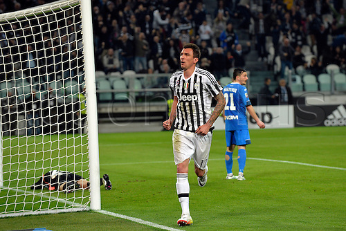 02.04.2016. Juventus Stadium, Turin, Italy. Serie A Football. Juventus versus Empoli. Mario Mandzukic celebrates after scoring the winning goal in a 1-0 win in the 44th minute