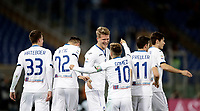 Calcio, Serie A: AS Roma - Atalanta, Roma, stadio Olimpico, 6 gennaio 2018.<br /> Atalanta's Andreas Cornelius (c) celebrates after scoring with his teammates during the Italian Serie A football match between AS Roma and Atalanta at Rome's Olympic stadium, January 6 2018.<br /> UPDATE IMAGES PRESS/Isabella Bonotto