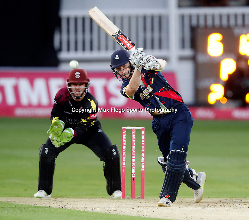 Sam Billings hits out for Kent during the Vitality Blast T20 game between Kent Spitfires and Somerset at the St Lawrence Ground, Canterbury, on Thur Aug 16, 2018