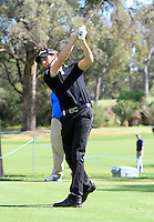 Gregory Bourdy (FRA) on the 2nd tee during Round 1 of the ISPS HANDA Perth International at the Lake Karrinyup Country Club on Thursday 23rd October 2014.<br /> Picture:  Thos Caffrey / www.golffile.ie