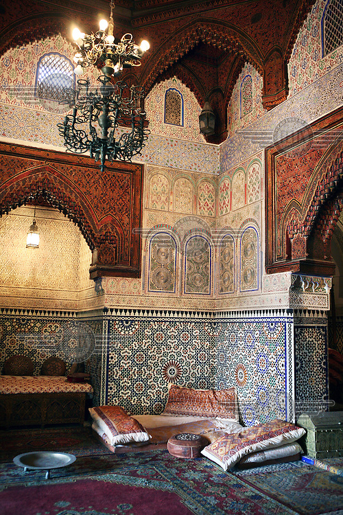 A room in the Dar Jamai Museum, ornately decorated with mosiacs. This former palace was constructed in 1882 by the Grand Vizier Mohammed Belarbi el-Jamai.