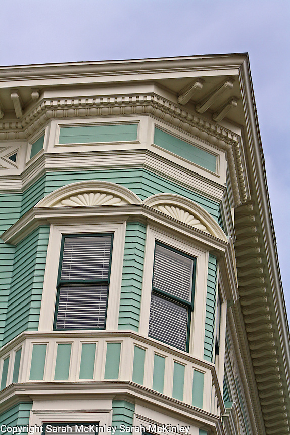 Detail of the corner of the historic Vance Hotel in Old Town Eureka in Humboldt County in Northern California.