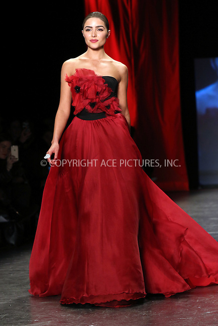 WWW.ACEPIXS.COM<br /> <br /> February 11 2016, New York City<br /> <br /> Actress Olivia Culpo walks the runway at The American Heart Association's Go Red For Women Red Dress Collection 2016 Presented By Macy's at The Arc, Skylight at Moynihan Station on February 11, 2016 in New York City.<br /> <br /> By Line: Nancy Rivera/ACE Pictures<br /> <br /> <br /> ACE Pictures, Inc.<br /> tel: 646 769 0430<br /> Email: info@acepixs.com<br /> www.acepixs.com