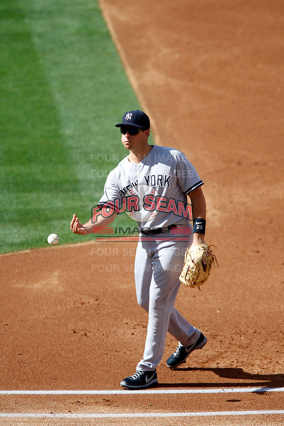 Mark Teixeira #25 of the New York Yankees during a game against the Los Angeles Angels at Angel Stadium on June 15, 2013 in Anaheim, California. (Larry Goren/Four Seam Images)