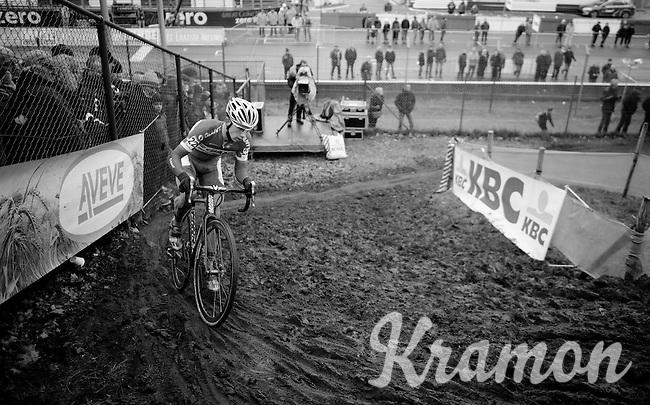 Lars Van der Haar (NLD/Giant-Shimano) leading the race<br /> <br /> Zolder CX UCI World Cup 2014
