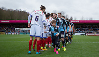 Pre Match handshakes during the Sky Bet League 2 match between Wycombe Wanderers and Portsmouth at Adams Park, High Wycombe, England on 28 November 2015. Photo by Andy Rowland.