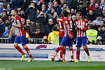 Atletico de Madrid´s players celebrate Antoine Griezmann´s goal during 2015/16 La Liga match between Real Madrid and Atletico de Madrid at Santiago Bernabeu stadium in Madrid, Spain. February 27, 2016. (ALTERPHOTOS/Victor Blanco)