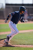 San Diego Padres catcher Luis Torrens (21) hustles down the first base line during an Extended Spring Training game against the Colorado Rockies at Peoria Sports Complex on March 30, 2018 in Peoria, Arizona. (Zachary Lucy/Four Seam Images)