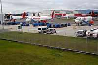 RIONEGRO, COLOMBIA - MAY 12: Three airplane of the Avianca airline settles on the runway of the José María Córdoba International Airport on May 12, 2020 in Rionegro. Avianca filed for bankruptcy in the United States on May 11, 2020 to reorganize its debt due to the impact of the coronavirus pandemic. (Photo by Fredy Builes / VIEWpress via Getty Images)