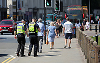 Pictured: Police outside Cardiff Castle Thursday 25 May 2017<br /> Re: Preparations for the UEFA Champions League final, between Real Madrid and Juventus in Cardiff, Wales, UK.