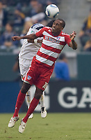 Midfielder of FC Dallas Atba Harris heads a ball towards the goal. The LA Galaxy defeated FC Dallas 2-1 at Home Depot Center stadium in Carson, California on Sunday October 24, 2010.