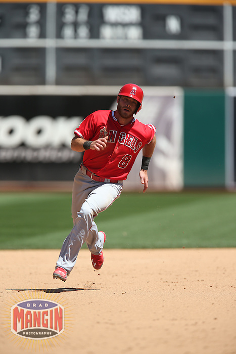 OAKLAND, CA - APRIL 30:  Taylor Featherston #8 of the Los Angeles Angels runs the bases against the Oakland Athletics during the game at O.co Coliseum on Thursday, April 30, 2015 in Oakland, California. Photo by Brad Mangin