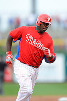 Philadelphia Phillies first baseman Ryan Howard #6 rounds third after hitting a home run during a Spring Training game against the Boston Red Sox at Bright House Field on March 24, 2013 in Clearwater, Florida.  Boston defeated Philadelphia 7-6.  (Mike Janes/Four Seam Images)
