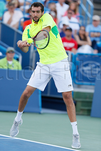 21.08.2016. Mason, Ohio, USA.  Marin Cilic (CRO) returns a shot during the Men's Final at The Western & Southern Open in Mason, OH. Cilic defeated Andy Murray (GBR) 6-4, 7-5.
