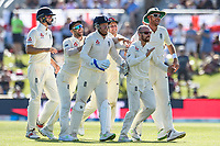 Jack Leach  with team mates celebrates the wicket of Tom Latham of the Black Caps during the final day of the Second International Cricket Test match, New Zealand V England, Hagley Oval, Christchurch, New Zealand, 3rd April 2018.Copyright photo: John Davidson / www.photosport.nz