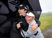 1st October 2017, Windross Farm, Auckland, New Zealand; LPGA McKayson NZ Womens Open, final round;  Lydia Ko shelters with as Megan Khang as play is suspended