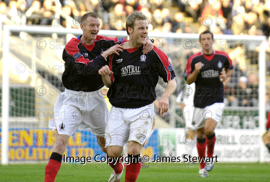 14/10/2006       Copyright Pic: James Stewart.File Name :jspa13_falkirk_v_st_mirren.ANTHONY STOKES CELEBRATES WITH JOHN STEWART AFTER HE SCORES FALKIRK'S EQUALISER....Payments to :.James Stewart Photo Agency 19 Carronlea Drive, Falkirk. FK2 8DN      Vat Reg No. 607 6932 25.Office     : +44 (0)1324 570906     .Mobile   : +44 (0)7721 416997.Fax         : +44 (0)1324 570906.E-mail  :  jim@jspa.co.uk.If you require further information then contact Jim Stewart on any of the numbers above.........