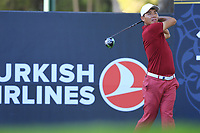 Ashun Wu (CHN) tees off the 17th tee during Friday's Round 2 of the 2018 Turkish Airlines Open hosted by Regnum Carya Golf &amp; Spa Resort, Antalya, Turkey. 2nd November 2018.<br /> Picture: Eoin Clarke | Golffile<br /> <br /> <br /> All photos usage must carry mandatory copyright credit (&copy; Golffile | Eoin Clarke)