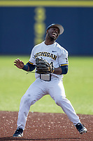 Michigan Wolverines second baseman Ako Thomas (4) reacts to making an error against the San Jose State Spartans on March 27, 2019 in Game 1 of the NCAA baseball doubleheader at Ray Fisher Stadium in Ann Arbor, Michigan. Michigan defeated San Jose State 1-0. (Andrew Woolley/Four Seam Images)