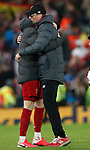 Jurgen Klopp manager of Liverpool hugs Jordan Henderson of Liverpool  during the UEFA Champions League match at Anfield, Liverpool. Picture date: 11th March 2020. Picture credit should read: Darren Staples/Sportimage