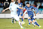 Getafe's Moi Gomez (r) and Celta de Vigo's Nolito during La Liga match. February 27,2016. (ALTERPHOTOS/Acero)