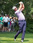 Graeme McDowell hits a drive on the 18th tee during the Barracuda Golf Championship at Montreaux on Saturday, August 4, 2018.