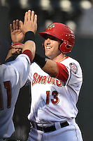 Harrisburg Senators catcher Brandon Bantz (13) is congratulated at the dugout after scoring a run during a game against the New Britain Rock Cats on April 28, 2014 at Metro Bank Park in Harrisburg, Pennsylvania.  Harrisburg defeated New Britain 9-0.  (Mike Janes/Four Seam Images)
