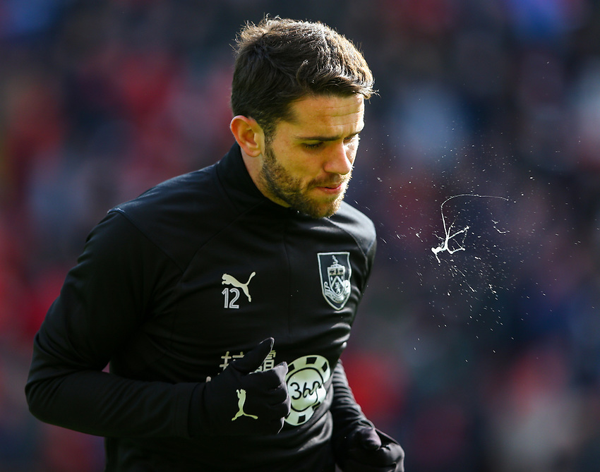 Burnley's Robbie Brady warms up<br /> <br /> Photographer Alex Dodd/CameraSport<br /> <br /> The Premier League - Liverpool v Burnley - Sunday 10th March 2019 - Anfield - Liverpool<br /> <br /> World Copyright © 2019 CameraSport. All rights reserved. 43 Linden Ave. Countesthorpe. Leicester. England. LE8 5PG - Tel: +44 (0) 116 277 4147 - admin@camerasport.com - www.camerasport.com