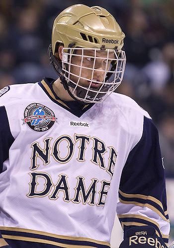November 23, 2012:  Notre Dame center T.J. Tynan (#18) during NCAA Hockey game action between the Notre Dame Fighting Irish and the North Dakota Fighting Sioux at Compton Family Ice Arena in South Bend, Indiana.  North Dakota defeated Notre Dame 2-1.