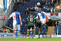 Blackburn Rovers' Ryan Nyambe takes a high ball during todays match<br /> <br /> Photographer Rachel Holborn/CameraSport<br /> <br /> The EFL Sky Bet League One - Blackburn Rovers v Doncaster Rovers - Saturday August 12th 2017 - Ewood Park - Blackburn<br /> <br /> World Copyright &copy; 2017 CameraSport. All rights reserved. 43 Linden Ave. Countesthorpe. Leicester. England. LE8 5PG - Tel: +44 (0) 116 277 4147 - admin@camerasport.com - www.camerasport.com