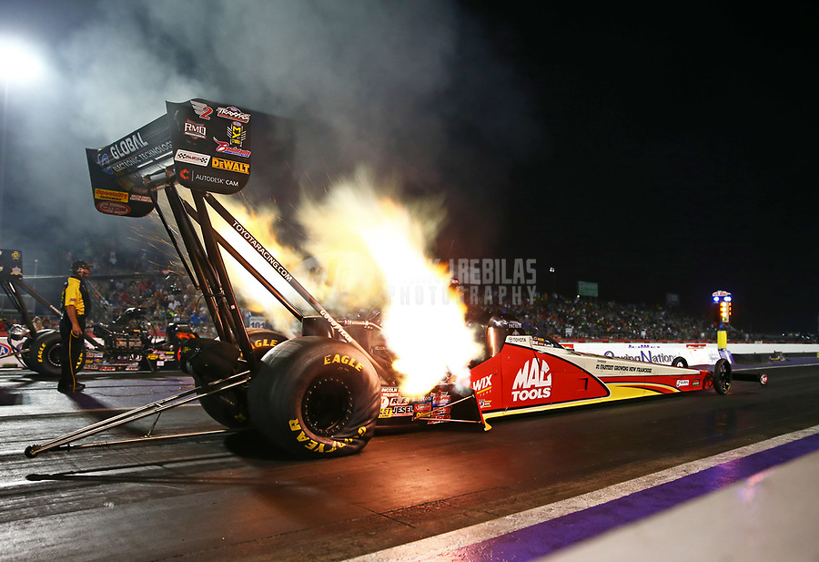 Apr 21, 2017; Baytown, TX, USA; NHRA top fuel driver Doug Kalitta during qualifying for the Springnationals at Royal Purple Raceway. Mandatory Credit: Mark J. Rebilas-USA TODAY Sports