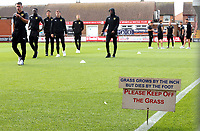 Oxford United players inspect the pitch at Highbury Stadium ahead of kick-off<br /> <br /> Photographer Rich Linley/CameraSport<br /> <br /> The EFL Sky Bet League One - Fleetwood Town v Oxford United - Saturday 7th September 2019 - Highbury Stadium - Fleetwood<br /> <br /> World Copyright © 2019 CameraSport. All rights reserved. 43 Linden Ave. Countesthorpe. Leicester. England. LE8 5PG - Tel: +44 (0) 116 277 4147 - admin@camerasport.com - www.camerasport.com