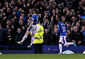 5th November 2017, Goodison Park, Liverpool, England; EPL Premier League Football, Everton versus Watford;  Leighton Baines of Everton celebrates in front of the home fans after scoring his team's third goal from the penalty spot after 91 minutes