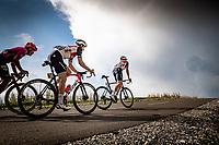 Edward Theuns (BEL/Trek-Segafredo) & Toms Skujins (LVA/Trek-Segafredo) up the finish climb & the highest peak of the 2020 #TdF: the Col de la Loze (HC/2304m/21,5km @7,8%)<br /> <br /> Stage 17 from Grenoble to Méribel - Col de la Loze (170km)<br /> <br /> 107th Tour de France 2020 (2.UWT)<br /> (the 'postponed edition' held in september)<br /> <br /> ©kramon