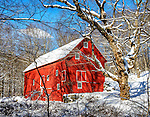 A barn in the snow after a blizzard, on Lake Surprise Road in Cold Spring, New York