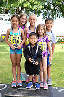 This group of young athletes all posed together after finishing the annual Splash n Dash at the Chelanman Multisport weekend.