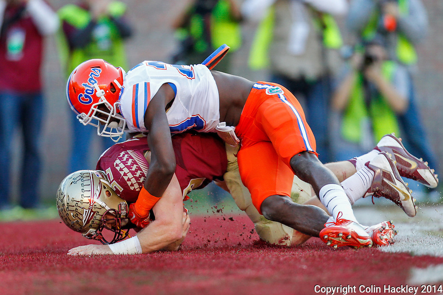 TALLAHASSEE, FL 11/29/14 FSU-UF112914-Florida State's Nick O'Leary comes down with a touchdown pass as University of Florida's Marcus Maye's tries to strip the ball during first half action Saturday at Doak Campbell Stadium in Tallahassee. <br /> COLIN HACKLEY PHOTO