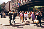 Riga Latvia 1980s. A Baltic State country part of the USSR. The main department store 1989  People out shopping.