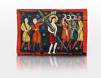 Romanesque painted Beam depicting The Passion and the Stations of the Cross<br /> <br /> Around 1192-1220, Tempera on wood from Catalonia, Spain.<br /> <br /> Acquisition of Museums Board's campaign in 1907. MNAC 15833.<br /> <br /> It is not known what was the original location of the beam, but it might have been part of the structure of a canopy. In any case, it was reused in a ceiling, as evidenced by the cuts that are at the top. It is decorated with seven scenes from the Passion and Resurrection of Christ, this one shows Christ carrying the Cross on the road to Calvary. The narrative character in the images and the predominance of yellow is typical of Catalan painting of the 1200's,  specifically with illustrations of Liber Feudorum Maior, a late twelfth-century illuminated cartulary book style of the Crown of Aragon